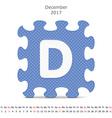 December 2017 puzzle calendar vector image vector image