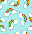 Hand drawn rainbow patch icon seamless pattern vector image