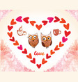 valentines day card with owl and watercolor vector image