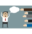 Successful businessman with many thumbs up vector image
