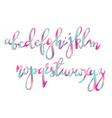 Handwritten brush pen colorful font vector image
