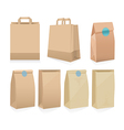 Set of seven recyclable brown paper bags vector image