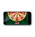 gold realistic wheel of fortune with smartphone vector image vector image