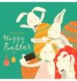 Easter bunnies take a selfie vector image