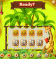 Game template with giraffe in the jungle vector image