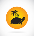 image of an palms tree and turtles vector image vector image