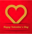Gold Heart applique on red vector image