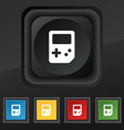 Tetris icon symbol Set of five colorful stylish vector image