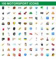 100 motorsport icons set cartoon style vector image