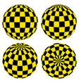 set 3d spheres pattern yellow black squares taxi vector image
