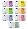 euro paper bill banknotes vector image