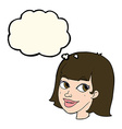 cartoon happy female face with thought bubble vector image