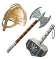 Historical weapons axe hammer and helmet vector image