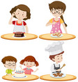 people and different food on tables vector image