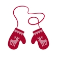 Red Winter Warm Mittens vector image