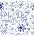 sea elements pattern marine seamless background vector image
