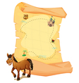A horse in front of the treasure map vector image vector image