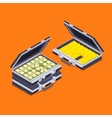 Isometric open briefcases with the golden bars and vector image