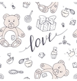 Valentines day seamless pattern with LOVE hand vector image vector image