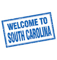 South Carolina blue square grunge welcome isolated vector image