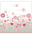 Lovely flowers and the cute bees vector image vector image