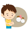 Cute boy do not want to take medicine vector image