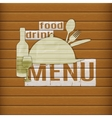 food and drink menu of paper on a wooden table vector image