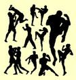 muay thai boxing sport silhouette vector image
