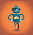 smart robot with glasses on wheel vector image