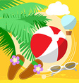 Sunny Beach by the sea with palm trees playing vector image