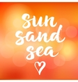 Summer card with hand drawn brush lettering Sun vector image