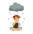 sad boy character sitting under stormy rainy vector image