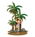 A beautiful girl near the palm trees vector image