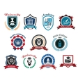 University academy and college emblems or logos vector image