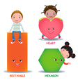 Cute little cartoon kids with basic shapes heart vector image
