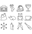 Black and white winter icons 2 vector image vector image