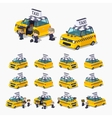 Taxi hatchback with the passengers vector image
