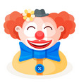colorful cartoon happy redhead clown character vector image