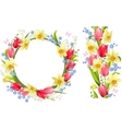 Frame and seamless border with spring flowers vector image