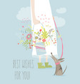 girl holding bouquet flowers vector image