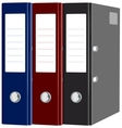 Stationery red blue black folders with documents vector image