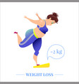 weightloss poster with a woman on scales vector image