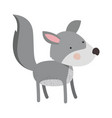 wolf cartoon colorful silhouette in white vector image