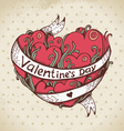 Hand drawn heart and vintage background vector image vector image