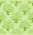 seamless pattern tree oak on light green vector image