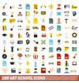 100 art school icons set flat style vector image