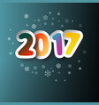 2017 colorful paper cut two thousand seventeen vector image