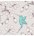 Hand drwn seamless psttern with colibri bird vector image vector image