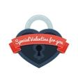 heart lock with ribbon vector image