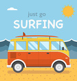 Travel Surfing Coach Bus on Summer Beach vector image